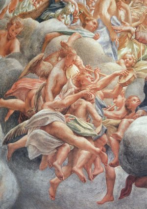 Assumption of the Virgin, detail of angelic musicians