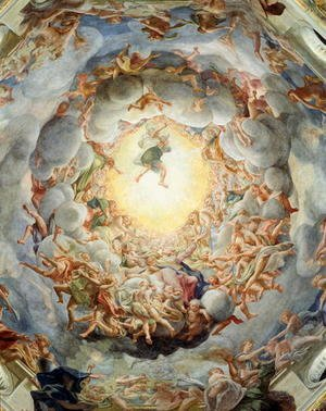 Correggio (Antonio Allegri) - Assumption of the Virgin, from the ceiling of the dome, 1526-30