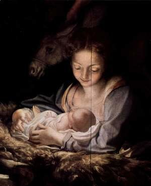 Correggio (Antonio Allegri) - Adoration of the Shepherds (The Night), detail, Maria and child