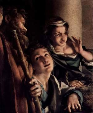 Correggio (Antonio Allegri) - Adoration of the Shepherds (The Night), detail, shepherds