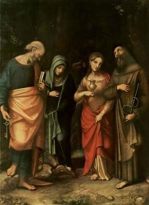 Four Saints, from left, St. Peter, St. Martha, St. Mary Magdalene, St. Leonard