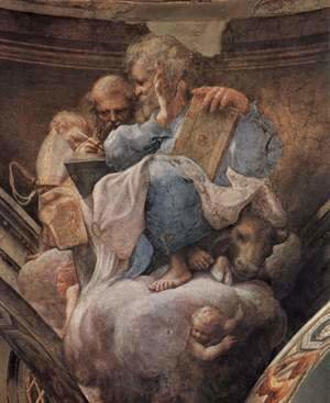Correggio (Antonio Allegri) - Frescoes in the church of San Giovanni Evangelista in Parma, Gewölbezwickel, Scene, St. Ambrose and St. Lucas