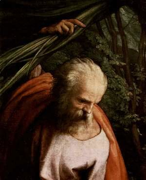 Correggio (Antonio Allegri) - Rest on the Flight to Egypt, with St. Francis, detail, St. Joseph