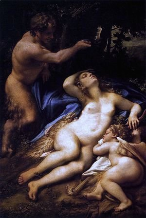 Correggio (Antonio Allegri) - Venus and Cupid with a Satyr 1528